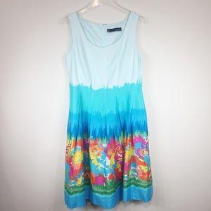 Chetta B | Cotton Floral Ombre Dress | Sz 10
